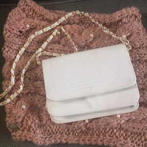 Handbags - Pretty White Quilted Look Flap Crossbody Bag!